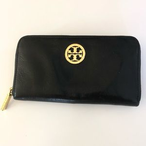 Tory Burch Black Wallet with Gold Hardware